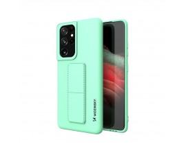 Husa Spate Wozinsky Compatibila Cu Samsung Galaxy S21 Ultra 5G, Cu Stand Metalic Pe Spate, Protectie La Camera - Verde Menta