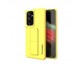 Husa Spate Wozinsky Compatibila Cu Samsung Galaxy S21 Ultra 5G, Cu Stand Metalic Pe Spate, Protectie La Camera - Galben