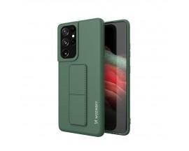 Husa Spate Wozinsky Compatibila Cu Samsung Galaxy S21 Ultra 5G, Cu Stand Metalic Pe Spate, Protectie La Camera - Verde