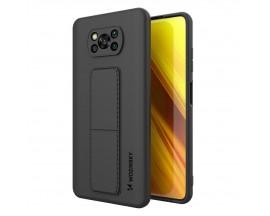 Husa Spate Wozinsky Compatibila Cu Xiaomi Poco X3 NFC / Poco X3 Pro, Cu Stand Metalic Pe Spate, Protectie La Camera - Negru