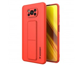 Husa Spate Wozinsky Compatibila Cu Xiaomi Poco X3 NFC / Poco X3 Pro, Cu Stand Metalic Pe Spate, Protectie La Camera - Gri