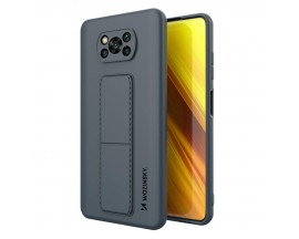Husa Spate Wozinsky Compatibila Cu Xiaomi Poco X3 NFC / Poco X3 Pro, Cu Stand Metalic Pe Spate, Protectie La Camera - Navy Blue