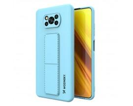 Husa Spate Wozinsky Compatibila Cu Xiaomi Poco X3 NFC / Poco X3 Pro, Cu Stand Metalic Pe Spate, Protectie Camera - Blue Deschis