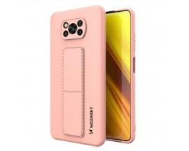 Husa Spate Wozinsky Compatibila Cu Xiaomi Poco X3 NFC / Poco X3 Pro, Cu Stand Metalic Pe Spate, Protectie La Camera - Roz