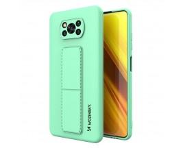 Husa Spate Wozinsky Compatibila Cu Xiaomi Poco X3 NFC / Poco X3 Pro, Cu Stand Metalic Pe Spate, Protectie Camera - Verde Menta
