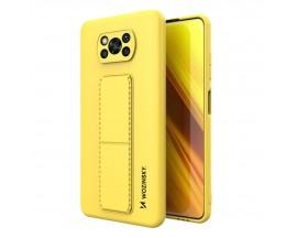 Husa Spate Wozinsky Compatibila Cu Xiaomi Poco X3 NFC / Poco X3 Pro, Cu Stand Metalic Pe Spate, Protectie La Camera - Galben