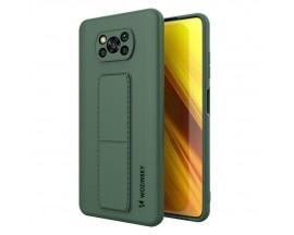 Husa Spate Wozinsky Compatibila Cu Xiaomi Poco X3 NFC / Poco X3 Pro, Cu Stand Metalic Pe Spate, Protectie La Camera - Verde