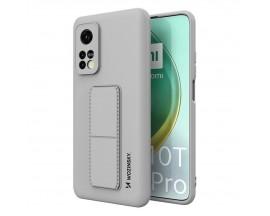 Husa Spate Wozinsky Compatibila Cu Xiaomi Mi 10T Pro 5G / Mi 10T 5G, Cu Stand Metalic Pe Spate, Protectie La Camera - Gri