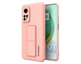 Husa Spate Wozinsky Compatibila Cu Xiaomi Mi 10T Pro 5G / Mi 10T 5G, Cu Stand Metalic Pe Spate, Protectie La Camera - Roz