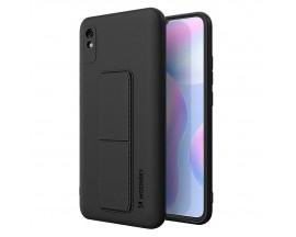 Husa Spate Wozinsky Compatibila Cu Xiaomi Redmi 9A, Cu Stand Metalic Pe Spate, Protectie La Camera - Negru