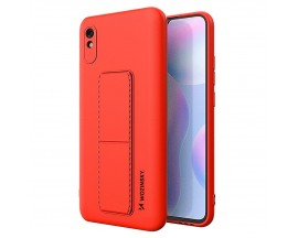 Husa Spate Wozinsky Compatibila Cu Xiaomi Redmi 9A, Cu Stand Metalic Pe Spate, Protectie La Camera - Rosu