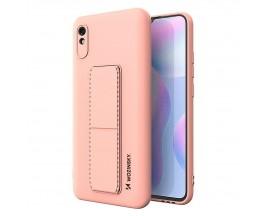 Husa Spate Wozinsky Compatibila Cu Xiaomi Redmi 9A, Cu Stand Metalic Pe Spate, Protectie La Camera - Roz
