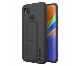 Husa Spate Wozinsky Compatibila Cu Xiaomi Redmi 9C, Cu Stand Metalic Pe Spate, Protectie La Camera - Negru