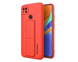 Husa Spate Wozinsky Compatibila Cu Xiaomi Redmi 9C, Cu Stand Metalic Pe Spate, Protectie La Camera - Rosu