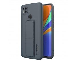 Husa Spate Wozinsky Compatibila Cu Xiaomi Redmi 9C, Cu Stand Metalic Pe Spate, Protectie La Camera - Navy Blue