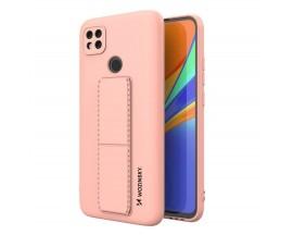 Husa Spate Wozinsky Compatibila Cu Xiaomi Redmi 9C, Cu Stand Metalic Pe Spate, Protectie La Camera - Roz