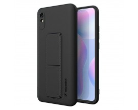 Husa Spate Wozinsky Compatibila Cu Xiaomi Redmi Note 9 Pro / Redmi Note 9S, Cu Stand Metalic Pe Spate, Protectie Camera - Negru