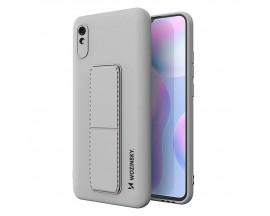 Husa Spate Wozinsky Compatibila Cu Xiaomi Redmi Note 9 Pro / Redmi Note 9S, Cu Stand Metalic Pe Spate, Protectie Camera - Gri