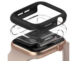Set 2 X Husa Ringke Slim Compatibila Cu Apple Watch 4/5/6/se 40mm, 1 X Negru, 1 X Transparenta