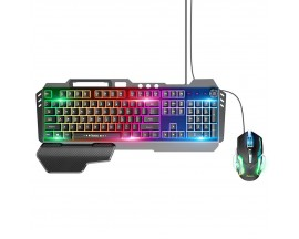 Set Tastatura + Mouse Hoco Gaming Luminare RGB GM12, Negru - 4749611