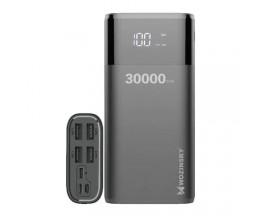 Baterie Externa Wozinsky 30.000 mAh, 4 Porturi USB + Lighting / USB C / Micro USB, 4A, Display Led, Negru