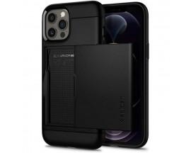 Husa Premium Spigen Slim Armor CS Compatibila cu iPhone 12 Pro Max, Negru