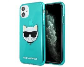 Husa Spate Karl Lagerfeld Compatibila Cu iPhone 11, Colectia Glitter Choupette Albastru - 9003456