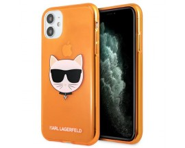Husa Spate Karl Lagerfeld Compatibila Cu iPhone 11, Colectia Glitter Choupette Orange - 9003470