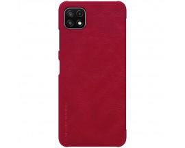 Husa Flip Cover Book Premium Nillkin Qin Compatibila Cu Samsung Galaxy A22 5g, Rosu, Piele Ecologica