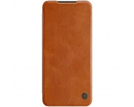 Husa Flip Cover Book Premium Nillkin Qin Compatibila Cu Samsung Galaxy A22 5g, Maro, Piele Ecologica