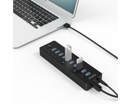 Adaptor HUB 10-in-1 Orico P10, USB - 10x USB 3.0, LED, Cablu USB 1m inclus, Negru - 1893152