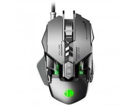 Mouse cu fir pentru gaming Inphic PG1, Argintiu/Verde - 86490732