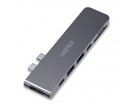 Hub Choetech Multifunctional Compatibil Cu Apple Macbook Pro  Usb Type-C, Thunderbolt 3 100W, 7 in 2, Gri - 4975376