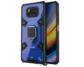 Husa Spate Upzz Techsuit Honeycomb Armor Cu Inel Metalic Compatibila Cu Xiaomi Poco X3 NFC / X3 / X3 Pro Albastru