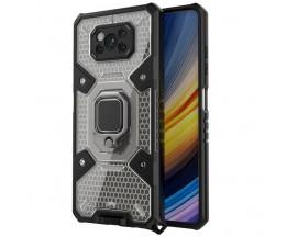 Husa Spate Upzz Techsuit Honeycomb Armor Cu Inel Metalic Compatibila Cu Xiaomi Poco X3 NFC / X3 / X3 Pro Negru