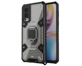 Husa Spate Upzz Techsuit Honeycomb Armor Cu Inel Metalic Compatibila Cu OnePlus Nord 2 5G Negru