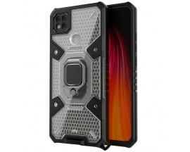 Husa Spate Upzz Techsuit Honeycomb Armor Cu Inel Metalic Compatibila Cu Xiaomi Redmi 9C Negru