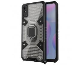 Husa Spate Upzz Techsuit Honeycomb Armor Cu Inel Metalic Compatibila Cu Xiaomi Redmi 9A Negru