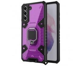 Husa Spate Upzz Techsuit Honeycomb Armor Cu Inel Metalic Compatibila Cu Samsung Galaxy S21 Plus Mov