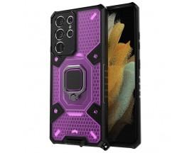 Husa Spate Upzz Techsuit Honeycomb Armor Cu Inel Metalic Compatibila Cu Samsung Galaxy S21 Ultra Mov