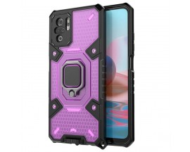 Husa Spate Upzz Techsuit Honeycomb Armor Cu Inel Metalic Compatibila Cu Xiaomi Redmi Note 10 / 10s Mov