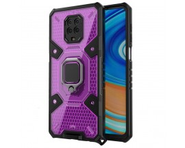 Husa Spate Upzz Techsuit Honeycomb Armor Cu Inel Metalic Compatibila Cu Xiaomi Redmi Note 9 Pro / Note 9 Pro Max Mov