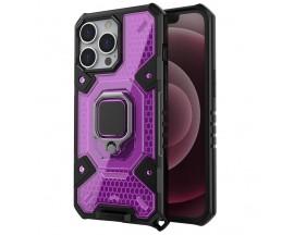Husa Spate Upzz Techsuit Honeycomb Armor Cu Inel Metalic Compatibila Cu iPhone 13 Pro Max Mov