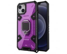 Husa Spate Upzz Techsuit Honeycomb Armor Cu Inel Metalic Compatibila Cu iPhone 13 Mov