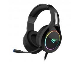 Casti gaming Havit GAMENOTE H2232D E-SPORTS, iluminare RGB, microfon ajustabil cu noise cancelling, 2 x 3.5 Jack si USB, 2.2 m