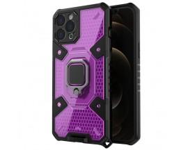 Husa Spate Upzz Techsuit Honeycomb Armor Cu Inel Metalic Compatibila Cu iPhone 11 Pro Max Mov