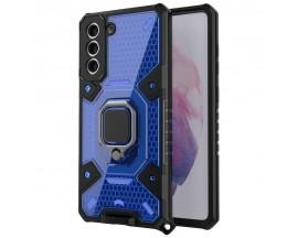 Husa Spate Upzz Techsuit Honeycomb Armor Cu Inel Metalic Compatibila Cu Samsung Galaxy S21 Plus Albastru