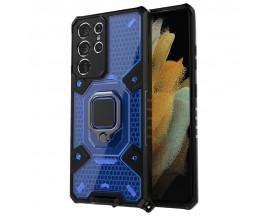 Husa Spate Upzz Techsuit Honeycomb Armor Cu Inel Metalic Compatibila Cu Samsung Galaxy S21 Ultra Albastru