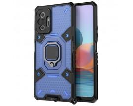 Husa Spate Upzz Techsuit Honeycomb Armor Cu Inel Metalic Compatibila Cu Xiaomi Redmi Note 10 Pro Albastru