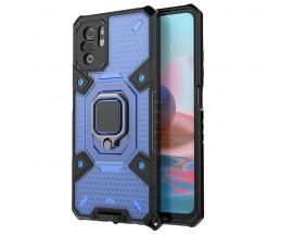 Husa Spate Upzz Techsuit Honeycomb Armor Cu Inel Metalic Compatibila Cu Xiaomi Redmi Note 10 / 10s Albastru